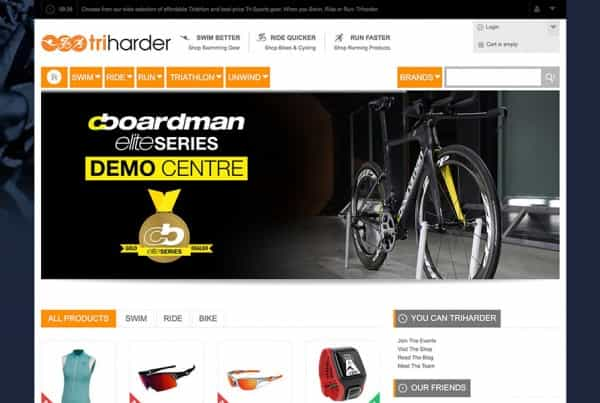 Triharder Triathlon Website Magento eCommerce Website Screenshot