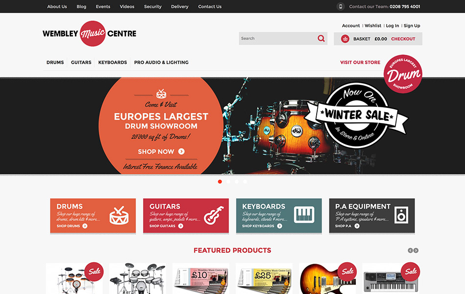 Wembley Music Centre Magento Website Image